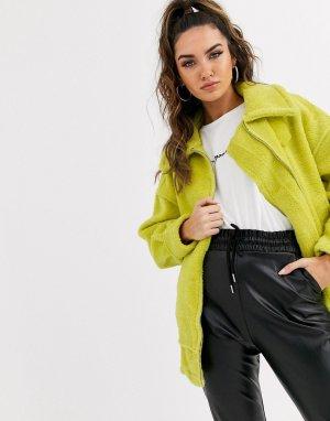 Куртка-бомбер из искусственного меха -Зеленый Missguided