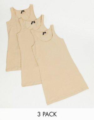 Набор из 3 светло-коричневых маек -Светло-коричневый Vero Moda