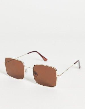 Солнцезащитные очки с квадратными стеклами в стиле 70-х Madein-Коричневый цвет Madein.