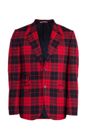 Шерстяной пиджак в шотландскую клетку с тремя карманами GUCCI. Цвет: красный