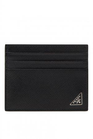 Кожаный черный футляр для карт Prada. Цвет: черный