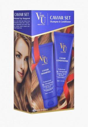 Набор для ухода за волосами Von U шампунь 200 мл + кондиционер с икрой. Цвет: прозрачный