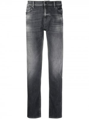 Stonewashed straight jeans 7 For All Mankind. Цвет: серый