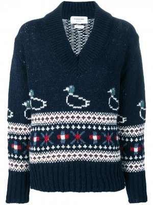 Свободный пуловер вязки фэр-айл с узором утками Thom Browne. Цвет: синий