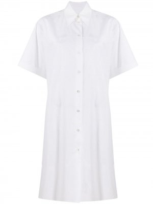 Короткое платье-рубашка MM6 Maison Margiela. Цвет: белый