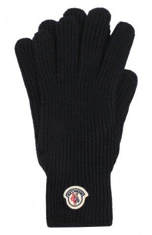 Шерстяные перчатки Moncler. Цвет: темно-синий