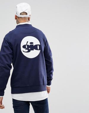 Темно-синий свитшот с принтом логотипа сзади Gio Goi. Цвет: темно-синий