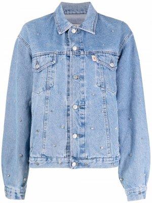 Джинсовая куртка с кристаллами Semicouture. Цвет: синий