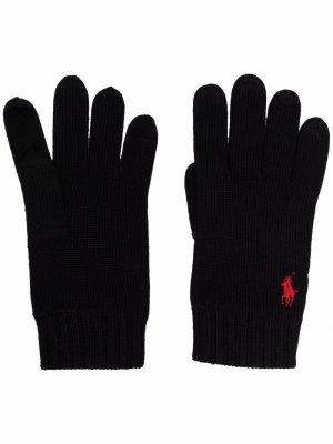 Pony knitted gloves Polo Ralph Lauren. Цвет: черный