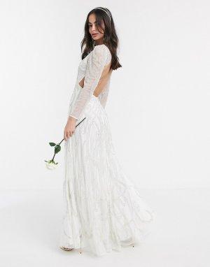 Свадебное платье макси Charlotte-Белый ASOS EDITION