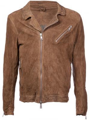 Кожаная куртка с эффектом помятости Giorgio Brato. Цвет: коричневый