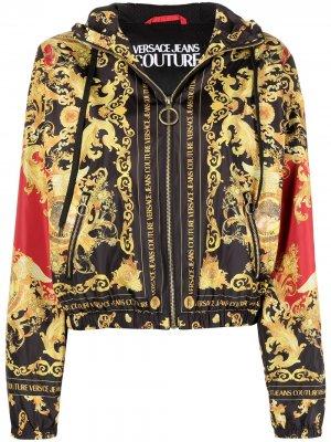 Бомбер с капюшоном и принтом Barocco Versace Jeans Couture. Цвет: черный