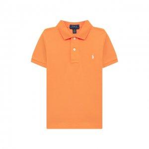 Хлопковое поло Polo Ralph Lauren. Цвет: оранжевый