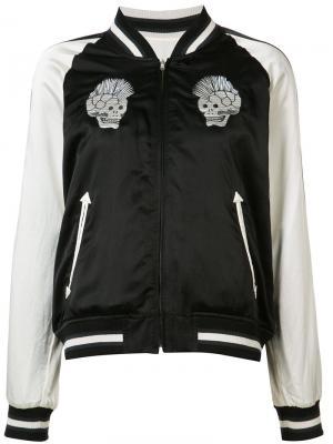 Куртка бомбер с черепами R13. Цвет: чёрный