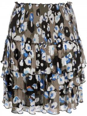 Ярусная юбка с абстрактным принтом Lala Berlin. Цвет: нейтральные цвета