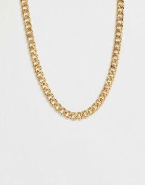 Короткая массивная цепочка золотистого цвета ASOS DESIGN. Цвет: золотой