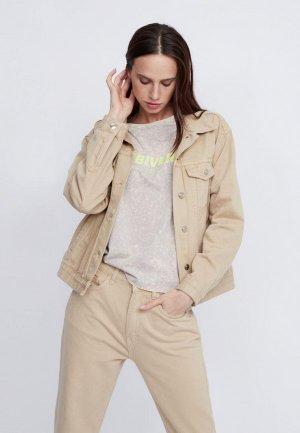 Куртка джинсовая Lime. Цвет: бежевый