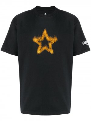 Playing with fire print T-shirt Converse. Цвет: черный