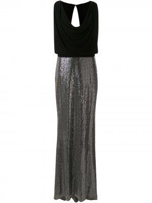 Декорированное платье с воротником-хомутом Badgley Mischka. Цвет: золотистый