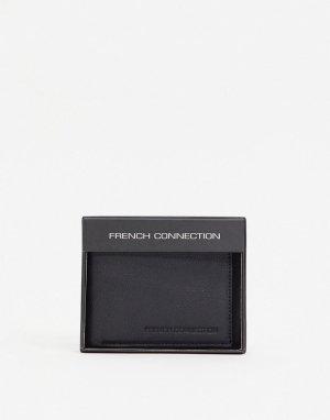 Черный классический кожаный бумажник -Черный цвет French Connection