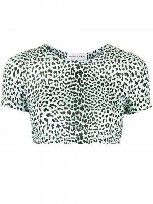 Укороченная футболка с леопардовым принтом Faith Connexion. Цвет: синий