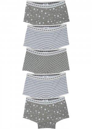 Трусы-панти (5 шт.) bonprix. Цвет: серый