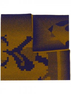 Объемный шарф с вышивкой Bernhard Willhelm. Цвет: синий