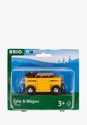 Набор игровой Brio Вагон с коровой. Цвет: желтый