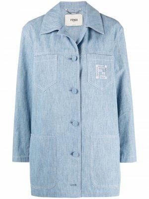 Джинсовая куртка-рубашка Fendi. Цвет: синий