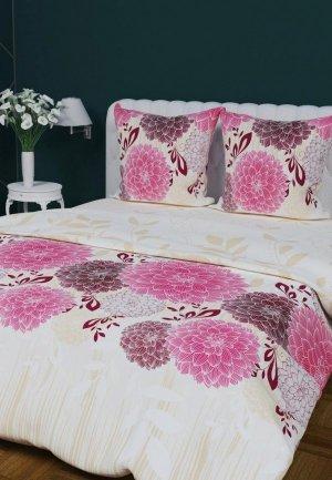 Постельное белье Евро Текстильная лавка. Цвет: розовый