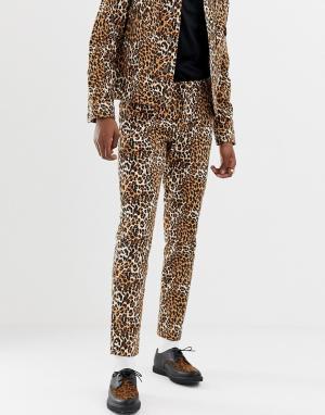 Узкие комбинируемые джинсы с леопардовым принтом ASOS DESIGN. Цвет: коричневый