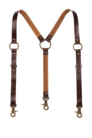 Подтяжки-портупея PANFFF. Цвет: коричневый, латунь, антик