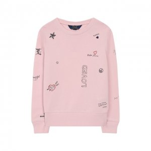 Хлопковый свитшот Polo Ralph Lauren. Цвет: розовый