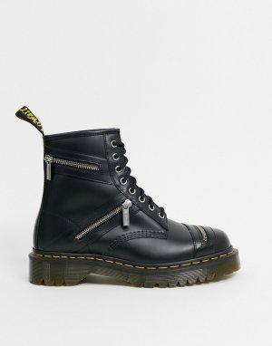 Черные ботинки с 8 парами люверсов -Черный Dr Martens