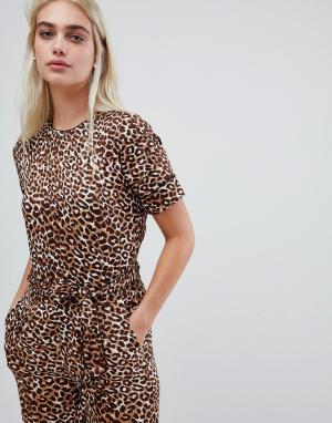 Комбинезон с леопардовым принтом Pieces. Цвет: мульти