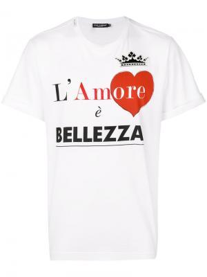 Футболка LAmore È Bellezza Dolce & Gabbana. Цвет: белый