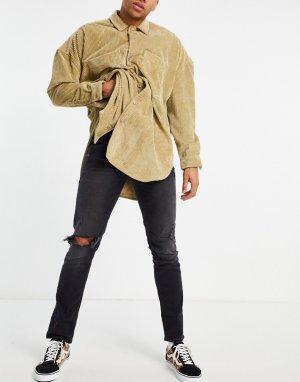 Черные узкие джинсы с рваной отделкой -Черный цвет ASOS DESIGN