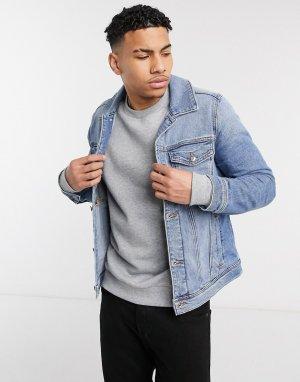 Голубая джинсовая куртка -Голубой Hollister