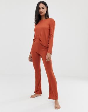 Расклешенные брюки в рубчик для дома -Оранжевый ASOS DESIGN