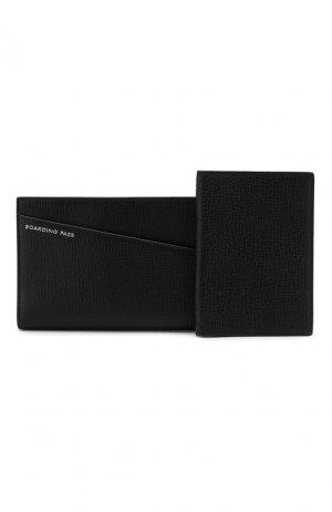 Футляр для документов и обложка паспорта Smythson. Цвет: чёрный