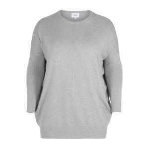 Пуловер с круглым вырезом из тонкого трикотажа ZIZZI. Цвет: серый