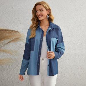 С карманами Контрастный цвет Повседневный Джинсовые куртки и пальто SHEIN. Цвет: синий цвет средней стирки
