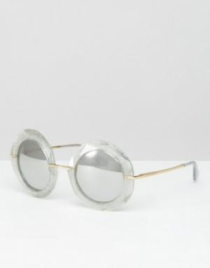 Большие круглые солнцезащитные очки с серебристыми блестками -Серебряный Dolce & Gabbana