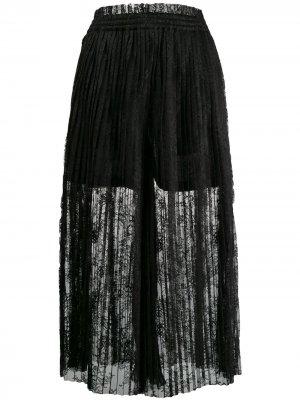 Кружевная юбка макси с плиссировкой MM6 Maison Margiela. Цвет: черный