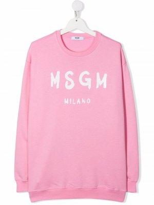 TEEN logo print sweatshirt MSGM Kids. Цвет: розовый