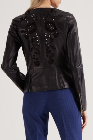 Кожаная куртка с перфорацией Angelo Marani. Цвет: черный