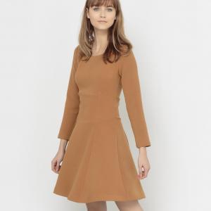 Платье расклешенное стеганое с длинным рукавом RIMMEL KARL MARC JOHN. Цвет: темно-бежевый
