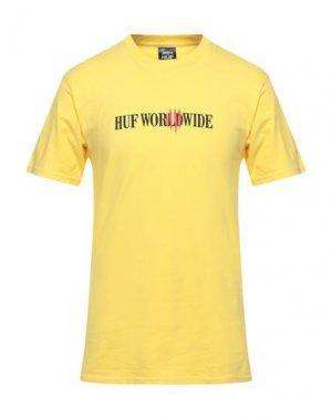 Футболка HUF. Цвет: желтый
