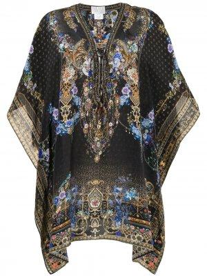 Кафтан с цветочным принтом Camilla. Цвет: черный