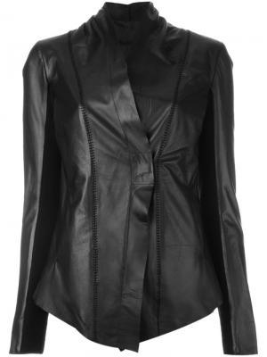 Приталенная кожаная куртка 10Sei0otto. Цвет: чёрный